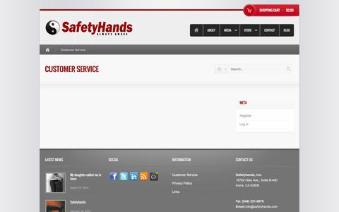 Screenshot of Support Page Terms Page safetyhands.com - Customer Service - SafetyHands - captured Oct. 23, 2014