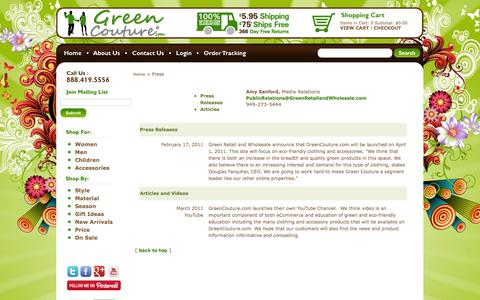 Screenshot of Press Page greencouture.com - Press amd Media about GreenCouture.com and Green Retailand Wholesale - captured Oct. 3, 2014