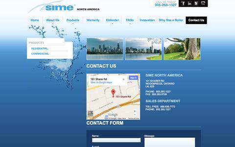 Screenshot of Contact Page simenorthamerica.com - Contact - captured Sept. 30, 2014