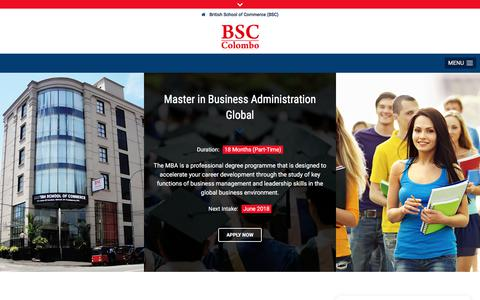 Screenshot of About Page bsccolombo.edu.lk - British School of Commerce (BSC) • About - captured June 2, 2018