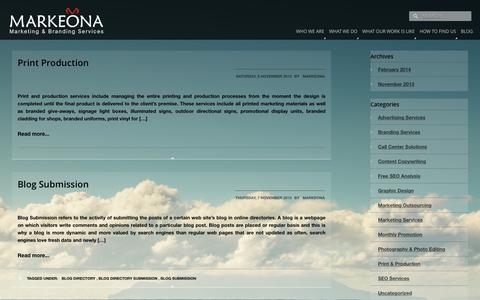 Screenshot of Blog markeona.com - 2013 - - captured April 20, 2016