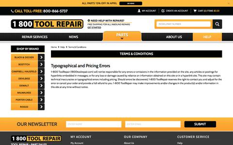 Screenshot of Terms Page 1800toolrepair.com - Terms & Conditions - captured June 11, 2017
