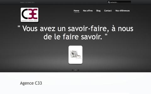 Screenshot of Home Page c33.ch - Agence C33, l'efficience des grands groupes adaptée à vos besoins. - captured Oct. 4, 2014