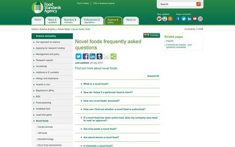 Screenshot of FAQ Page food.gov.uk - Novel foods frequently asked questions | Food Standards Agency - captured Nov. 25, 2016
