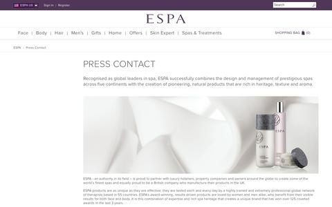 Screenshot of Press Page espaskincare.com - Press Contact  | ESPA - captured Aug. 28, 2016