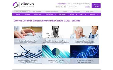 Screenshot of Case Studies Page clinovo.com - Clinovo's Customer Stories: Electronic Data Capture, CDISC, Services | Clinovo - Clinical Data Solutions - captured Oct. 28, 2014