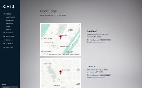Screenshot of Locations Page caisgroup.com - Locations - CAIS - captured July 3, 2016