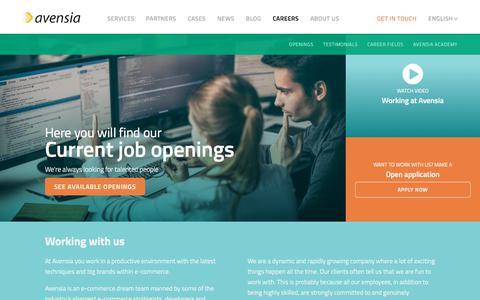 Screenshot of Jobs Page avensia.com - Careers | Avensia - captured April 24, 2018