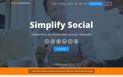 Screenshot of Home Page bn.co - Brand Networks   Simplify Social Advertising - captured Oct. 6, 2016