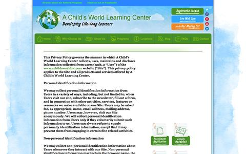 Screenshot of Privacy Page achildsworldnc.com - A Child's World Learning Center - captured Oct. 1, 2014