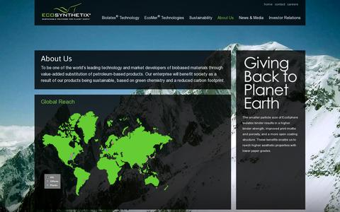 Screenshot of About Page ecosynthetix.com - Ecosynthetix - About Us - Global Reach - captured July 19, 2014