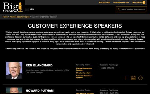 Screenshot of Support Page bigspeak.com - Customer Experience Speakers - BigSpeak Motivational Speakers Bureau - captured April 19, 2019