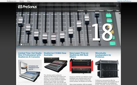 Screenshot of Home Page presonus.com - PreSonus - captured Oct. 23, 2015