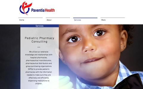 Screenshot of Services Page paventiahealth.com - Services - captured July 19, 2017