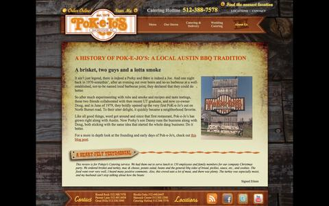 Screenshot of About Page pokejos.com - Pok-e-Jo's - About Us - A Local Austin BBQ Tradition - captured Oct. 2, 2014