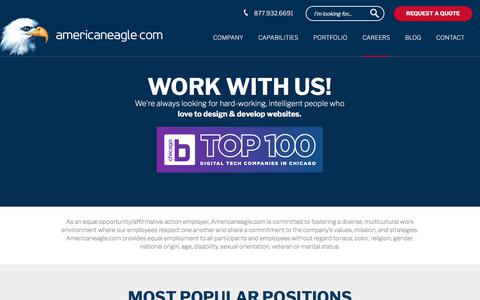Screenshot of Jobs Page americaneagle.com - Jobs | Web Design and Web Programmer Careers | Americaneagle.com, Inc. - captured March 12, 2018
