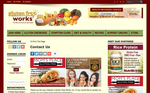 Screenshot of Contact Page glutenfreeworks.com - Contact Us   Gluten Free Works - captured Nov. 11, 2016