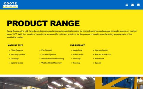 Screenshot of Products Page coote.co.uk - steel moulds for precast concrete and precast concrete machinery | Coote Engineering - captured Sept. 29, 2018