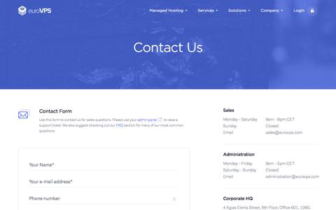 Screenshot of Contact Page eurovps.com - Contact Us | EuroVPS - captured Nov. 20, 2016