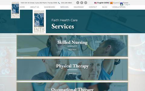 Screenshot of Services Page faithhealthcare.com - Services | Home Health Care | Medical | Aide - captured Nov. 14, 2018