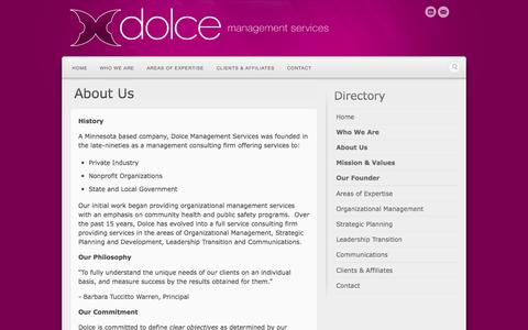 Screenshot of About Page dolcems.com - About Us | Dolce Management Services - captured Oct. 5, 2014