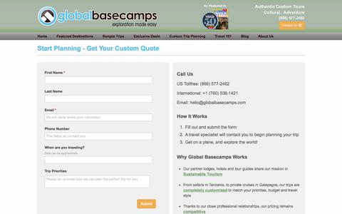 Screenshot of Contact Page globalbasecamps.com - Start Planning - Get Your Custom Quote | Global Basecamps - captured Sept. 23, 2014