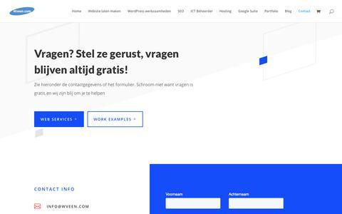 Screenshot of Contact Page wveen.com - Webdesign - Hosting - SEO - IT Beheer - Contact Wveen.com uit Hillegom - captured Oct. 20, 2018