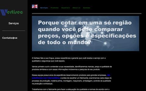 Screenshot of Services Page vertisec.us - Serviços - captured Feb. 14, 2016