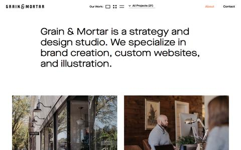 Screenshot of About Page grainandmortar.com - About | Grain & Mortar - captured Jan. 20, 2020