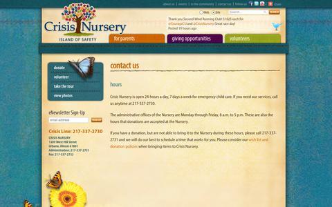 Screenshot of Hours Page crisisnursery.net - Hours | Crisis Nursery - Urbana, IL - captured Sept. 30, 2014