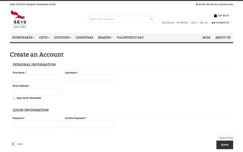 Screenshot of Signup Page se10gallery.com.au - Create New Customer Account | SE10 Gallery - captured Sept. 30, 2014