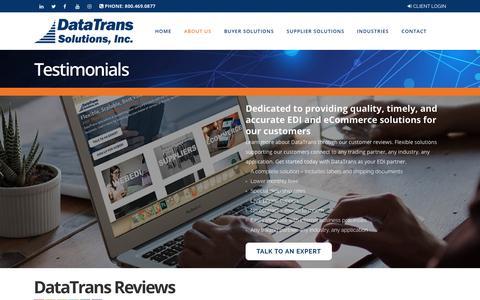 Screenshot of Testimonials Page datatrans-inc.com - DataTrans Solutions Reviews | EDI Reviews | DataTrans Solutions - captured Nov. 8, 2018
