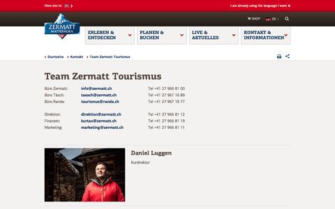 Screenshot of Team Page zermatt.ch - Kontakte bei Zermatt Tourismus - captured Nov. 3, 2016