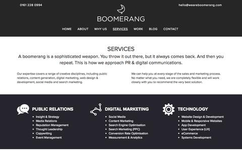 Screenshot of Services Page weareboomerang.com - PR, Marketing & Digital Services | Boomerang - captured Sept. 19, 2014