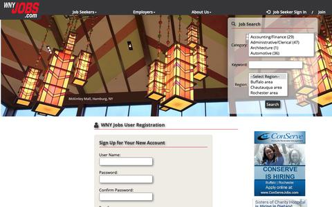 Screenshot of Signup Page wnyjobs.com - Job Search | WNY Jobs | Job Seeker Register | Buffalo - captured Dec. 12, 2018