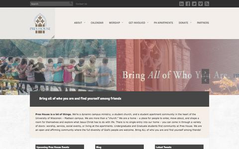 Screenshot of Home Page preshouse.org - Pres House campus ministry and student church at UW - Madison - captured Sept. 30, 2014