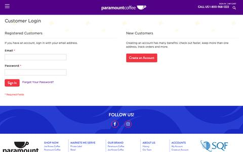 Screenshot of Login Page paramountcoffee.com - Customer Login  | Paramount Coffee - captured Sept. 26, 2018