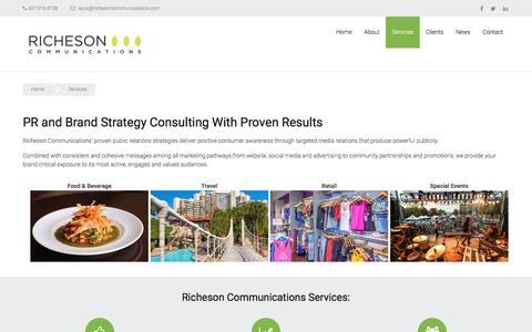 Screenshot of Services Page prfirmorlando.com - PR Consulting | Brand Strategy Consulting - captured Dec. 22, 2016