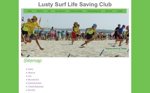 Screenshot of Site Map Page lustyslsc.co.uk - Lusty Surf Life Saving Club - Home - captured June 13, 2016