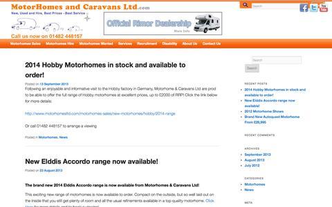 Screenshot of Press Page motorhomesltd.com - Motorhomes & Caravans Ltd News & Events | New, Used and Hire, Best Prices – Best Service - captured Oct. 7, 2014