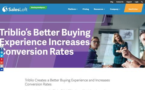 Screenshot of Case Studies Page salesloft.com - Triblio's Better Buying Experience Increases Conversion Rates - SalesLoft - captured Sept. 19, 2018