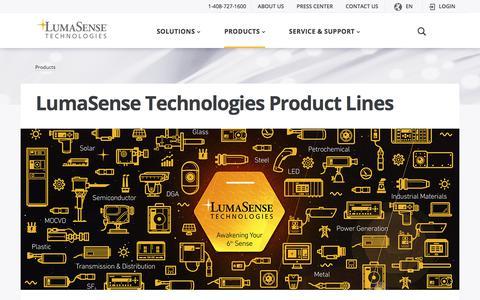 Screenshot of Products Page lumasenseinc.com - Temperature Measurement, Process Cameras, Pyrometers, Fiber Optic Temperature Sensors - captured Sept. 19, 2017