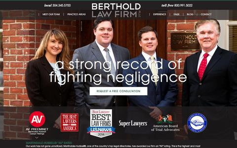 Screenshot of Home Page law-wv.com - West Virginia Personal Injury Lawyer | Berthold Law Firm - captured Oct. 5, 2014