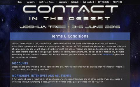 Screenshot of Terms Page contactinthedesert.com - Terms & Conditions | Contact in the Desert 2016 - captured Jan. 15, 2016