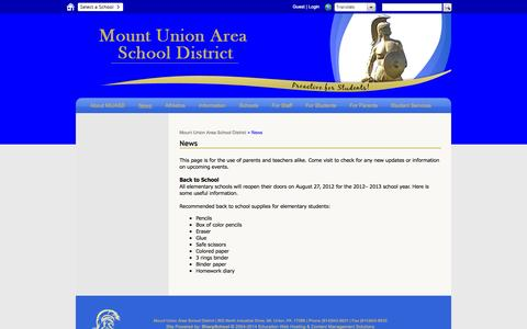 Screenshot of Press Page muasd.org - News - Mount Union Area School District - captured Nov. 5, 2014