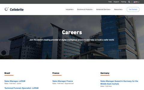 Screenshot of Jobs Page cellebrite.com - Positions - Cellebrite - captured March 20, 2019