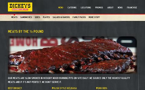 Screenshot of Menu Page dickeys.com - Dickey's Barbecue Pit - captured Jan. 20, 2016