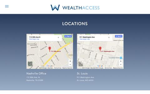 Screenshot of Locations Page wealthaccess.com - Locations | Wealth Access - captured Dec. 3, 2015