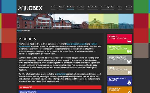 Screenshot of Products Page aquobex.com - Products | Aquobex - Independent Flood Management Solutions - captured Oct. 4, 2014