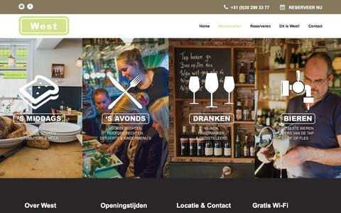 Screenshot of Menu Page restaurantwest.nl - Menukaarten | Restaurant West - captured Jan. 24, 2016